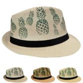 24 Units of Adult Printed Pineapple Fedora Hat - Fedoras, Driver Caps & Visor