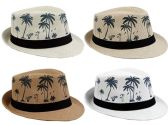 24 Units of Adult Printed Palm Tree Fedora Hat - Fedoras, Driver Caps & Visor