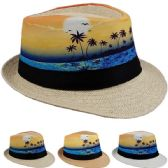 24 Units of Adult Printed Tropical Palm Tree Fedora Hat - Fedoras, Driver Caps & Visor