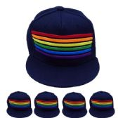 24 Units of Adult Rainbow Snapback Cap In Navy - Fedoras, Driver Caps & Visor