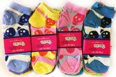 36 Units of Women's Skull Striped Ankle Socks - Womens Ankle Sock