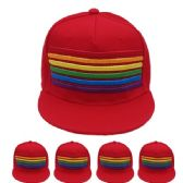 24 Units of Adult Rainbow Snapback Cap In Red - Fedoras, Driver Caps & Visor