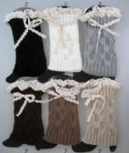 36 Units of Knitted Boot toppers leg warmers with Lacey Bows - Arm & Leg Warmers