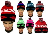"""24 Units of """"Sexy"""" Beanie Hat With Pom Pom - Winter Beanie Hats"""