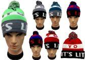 """24 Units of """"its Lit"""" Beanie Hat With Pom Pom - Winter Beanie Hats"""