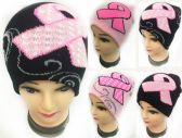 48 Units of Winter Knitted Beanie Pink Ribbon Breast Cancer Assorted - Baseball Caps & Snap Backs
