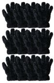 36 Units of Kids Furry Gloves Solid Black , Warm And Fuzzy - Fuzzy Gloves