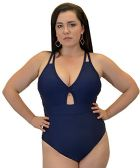 Yacht & Smith Plus Size Womens Swimsuit, Fashion One Piece Bathing Suit Tank (Navy, 3X) - Womens Swimwear