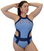 Yacht & Smith Plus Size Womens Swimsuit, Fashion One Piece Bathing Suit Tank (Blue, 1X) - Womens Swimwear