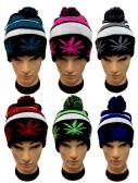 36 Units of Marijuana Pot Leaf Knitted Pom Pom Beanie - Winter Beanie Hats
