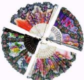 120 Units of Floral Folding Hand Fans - Novelty Toys