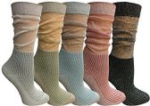 Yacht&Smith 5 Pairs Ruffle Slouch Socks for Women, Unique Frilly Cuff Fashion Trendy Ankle Socks (5 Pairs Ribbed) - Womens Crew Sock
