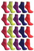 60 Units of SOCKS'NBULK Womens Cushion Athletic Performance Socks, Neon Sport Socks - Womens Ankle Sock