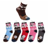36 Units of Womens Soft Fuzzy Socks Cute Bear Design Size 9-11 - Womens Fuzzy Socks