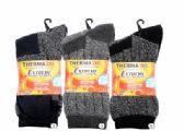 36 Units of Mens Warm Winter Thermal Ribbed Heat Socks Size 10-13 - Mens Thermal Sock