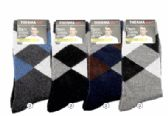 36 Units of Mens Warm Winter Wool Thermal Socks, Argyle Print Size 10-13 - Mens Thermal Sock
