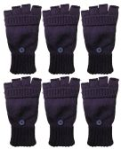 Yacht & Smith Mens Womens, Warm And Stretchy Winter Gloves (6 pack Fingerless Purple) - Knitted Stretch Gloves