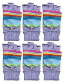 Yacht & Smith Mens Womens, Warm And Stretchy Winter Gloves (6 pack Fingerless Stripe) - Knitted Stretch Gloves