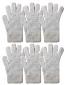 Yacht & Smith Mens Womens, Warm And Stretchy Winter Gloves (6 pack Light Blue Fuzzy) - Knitted Stretch Gloves