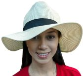 20 Pieces of Yacht & Smith Floppy Stylish Sun Hats Bow and Leather Design, Style B - White - Sun Hats