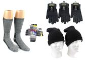 180 Units of Adult Merino Wool Combo - Hats, Gloves, and Socks - Winter Sets Scarves , Hats & Gloves