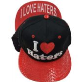 "24 Units of ""I HEART HATERS""-Assorted Color Snapback Caps - Hats With Sayings"