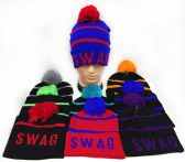 36 Units of Knitted Pompom Unisex Swag Hats Assorted - Fashion Winter Hats