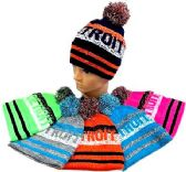 "48 Units of ""Detroit"" Knitted Hat with pompom - Winter Beanie Hats"