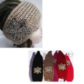 24 Units of Assorted Color Knit Bow Headband with Beaded Floral Design - Headbands