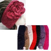 24 Units of Women's Assorted Color Headbands with Sparkle and Flower Design - Headbands