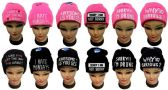 48 Units of Women Embroidered Knit Toboggans (Assorted Expressions) - Hats With Sayings