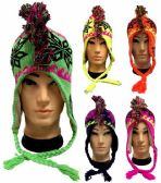 36 Units of Neon Knit Mohawk Winter Hats with Ear Flaps - Winter Scarves
