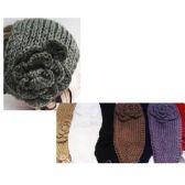 24 Units of Women's Solid Assorted Color Headbands with Flower Design - Headbands