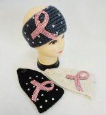 36 Units of Knitted Headbands Breast Cancer Pink Rhinestone Ribbon - Headbands