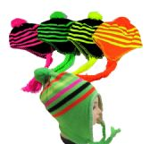 36 Units of Neon Stripe Winter Hat in Assorted Colors - Winter Hats