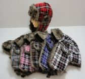 24 Units of Assorted Color Plaid Bomber Hat - Trapper Hats