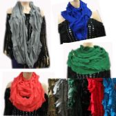 24 Units of Women's Ruffle Design Assorted Color Scarves - Womens Fashion Scarves