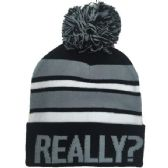 "24 Units of ""REALLY?"" Printed Hats in Assorted Colors - Winter Beanie Hats"