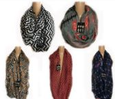 144 Units of Thin Fashion Infinity Scarf Mix Prints - Winter Scarves