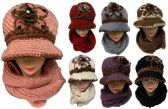 12 Units of Knitted Lady Winter Hat and Scarf Set Assorted Colors - Winter Sets Scarves , Hats & Gloves