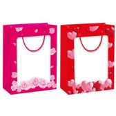 48 Units of Valentines Day Bag Window Bag Medium - Valentine Gift Bag's