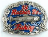 12 Units of Id Rather be fishing Belt Buckle - Belt Buckles