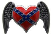 12 Units of Red rebel heart with wings - Belt Buckles