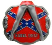 12 Units of Girl Legs with Rebel Flag Belt Buckle - Belt Buckles