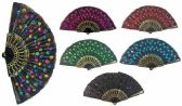 96 Units of Hand Fan with Feather Pattern Sequins Assorted Color - Novelty Toys