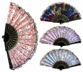 96 Units of Hand Fan with Various Patterns Black Frame Assorted - Novelty Toys