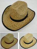36 Units of Straw Cowboy Hats Assorted - Cowboy & Boonie Hat