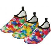 "36 Units of Women's ""Wave"" Super Soft Elastic Nylon Upper Fantasy Printed Yoga Sock Water Shoes - Women's Aqua Socks"