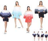 12 Units of Dip Dye Bubble Sleeves Short Dresses - Womens Sundresses & Fashion