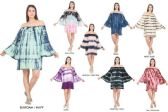 12 Units of Tie Dye Rayon Off Shoulder Bell Sleeves Dresses - Womens Sundresses & Fashion